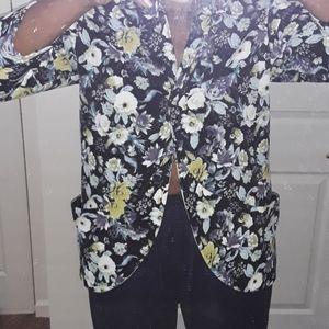 H&M black floral open front Blazer